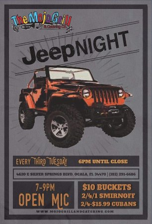 The Mojo Grill & Catering Company : jeep night every 3rd tuesday at mojo's 40