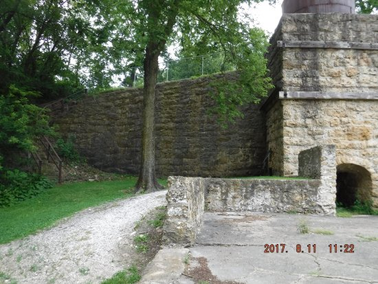 Maquoketa, IA: Hurstville Lime Kilns - stairway to upper level