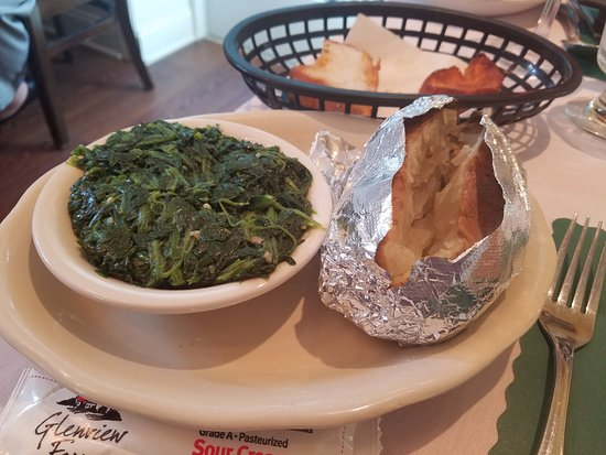 Hammonton, NJ: spinach with garlic and baked potato