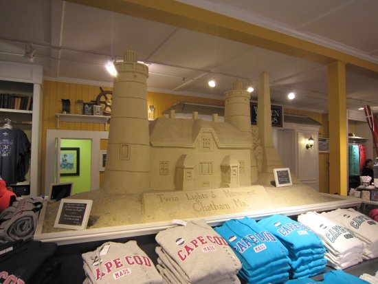 West Dennis, MA: Sand sculpture of Chatham Lighthouse