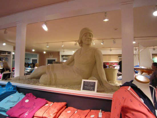 West Dennis, MA: Sand sculpture in the womens and kid area