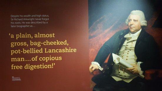 Cromford, UK: Amusing description of Arkwright!