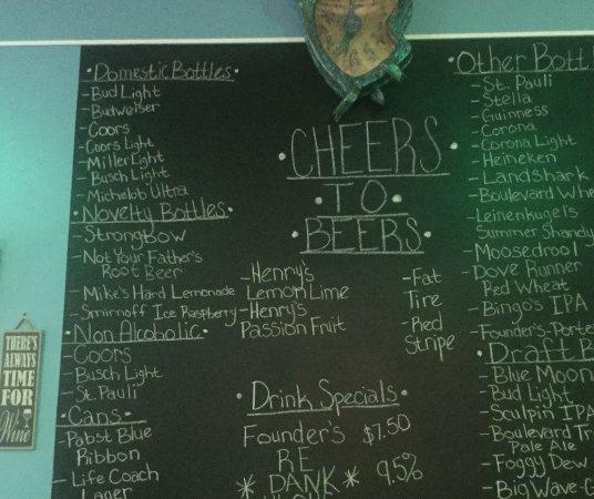 Abilene, KS: Beer list on the day I visited