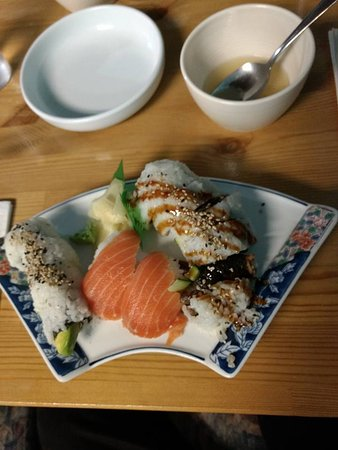 Sechelt, Canada: salmon and chicken rice with miso soup