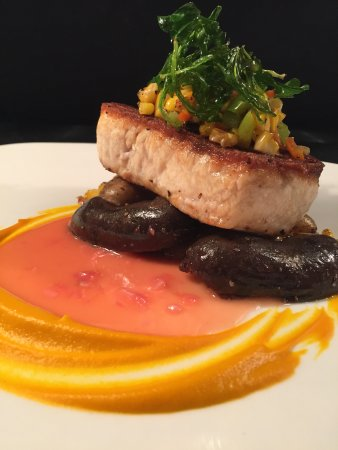 Corona, CA: Fish Of the Day: Line Caught Swordfish served with blood orange beurre blanc topped with charred