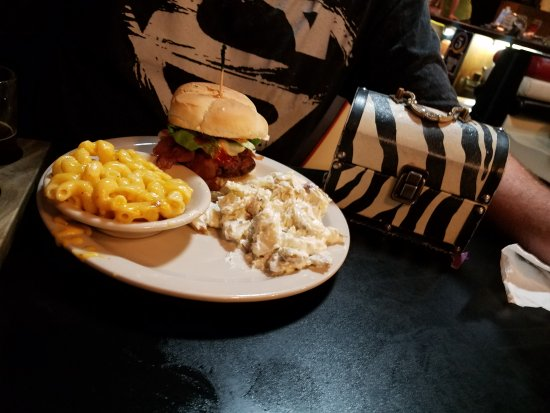 McMinnville, TN: Hickory smoked burger with loaded potato salad and gouda mac and cheese