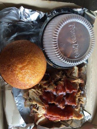 Grandville, MI: BBQ pork, beans, and corn muffin
