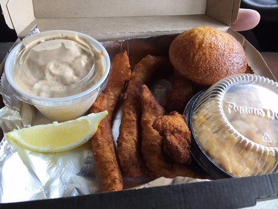 Grandville, MI: Catfish, mac n cheese, & corn muffin. The sauce for catfish is fantastic!