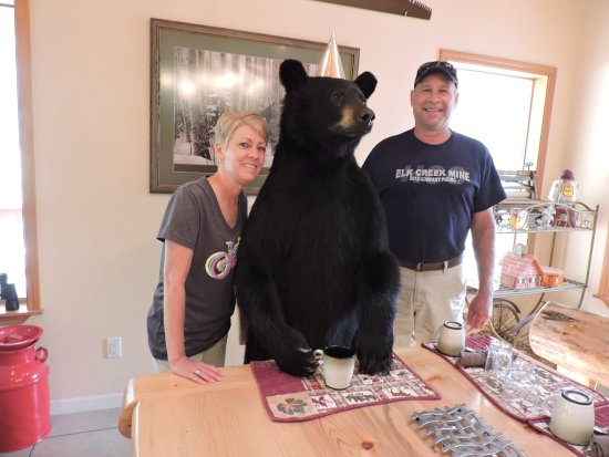 Thompson Falls, Монтана: First time to have breakfast with a bear!