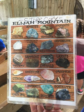Elijah Mountain Gem Mine : The list to compare what you find with what it actually might be