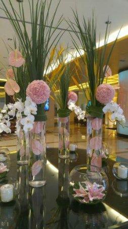 Freshly cut flowers in the lobby