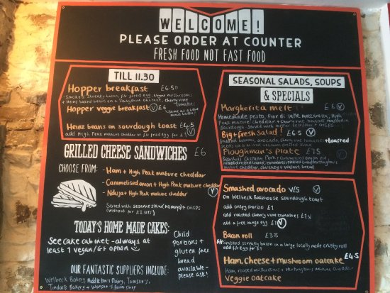 Hope, UK: Menu, as of August 2017