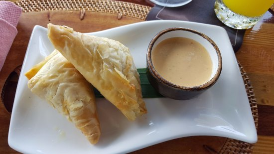 Dasheene at Ladera : Appetizer - Vegetarian Phyllo - Callaloo, Ricotta, Sqaush, spicy Pepper Coulis $7USD