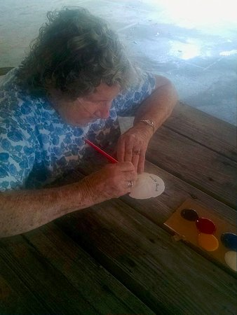 Pirateland Oceanfront Campground: painting sand dollars
