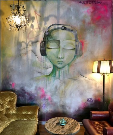 Varberg, Sverige: #howtoenjoymusic Wallpainting by Julie Kristine Blomsöy