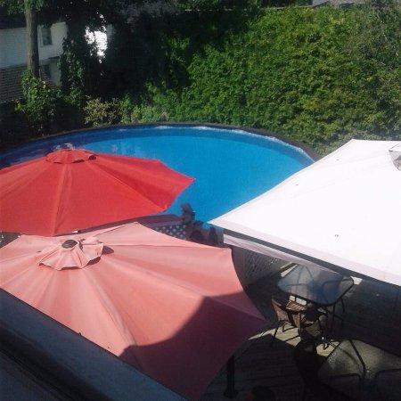 Au Coq du Bonheur B&B: Petit terrasse adjacente a la piscine très bien disposé et aménagé.