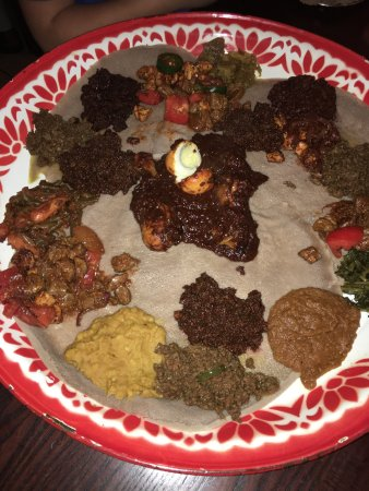 Queen of Sheba: Great food!  Generous portions. Unique Ethiopian flavors