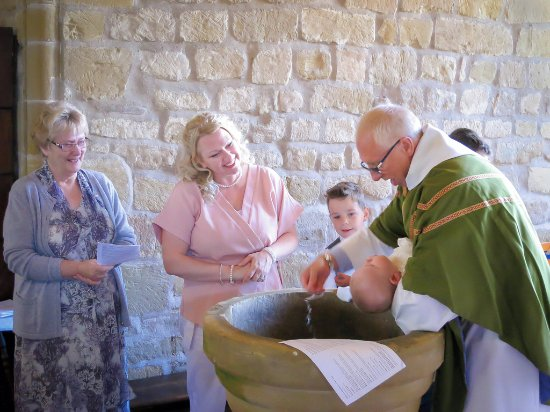 Thirsk, UK: A baptism at St Mary's Church Leake