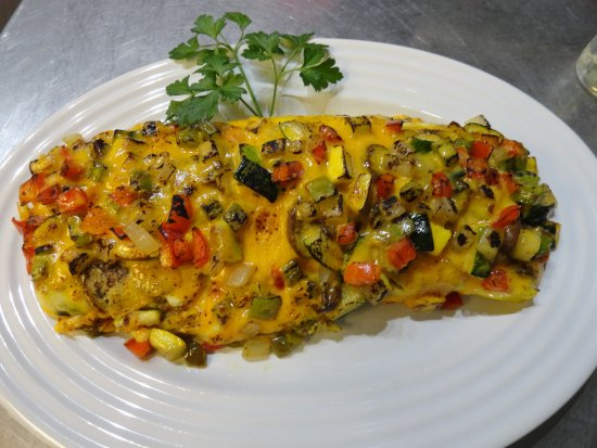 Cookson, OK: Vegetarian Omelet for two (Eggs, Sauteed Onion, Bell Pepper, Mushrooms, Squash , Zucchini & chee