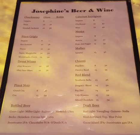 Sewall s Point, ฟลอริด้า: Beer & Wine Menu