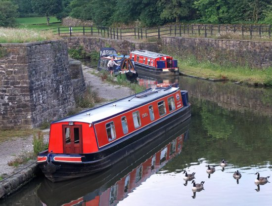 Heritage Narrow Boats: 'Etruria' at Bugsworth Basin with 'Hazelhurst' also in view