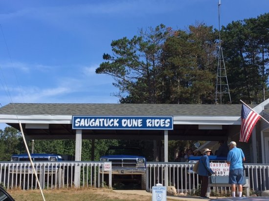 Out front of the Saugatuck Dune Rides.