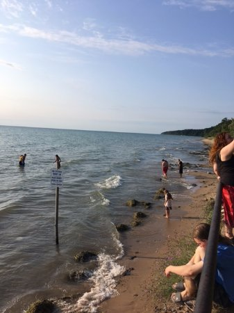 Fennville, MI: People playing in the water and beach.