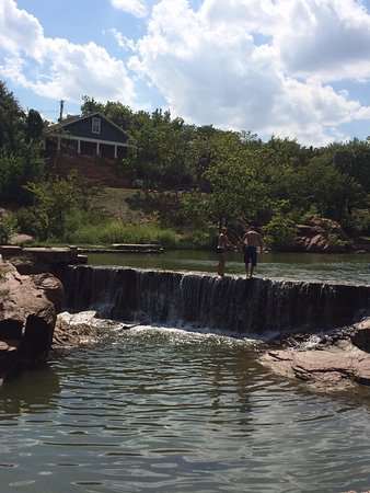 Medicine Park, OK: By the waterfall
