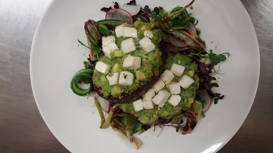 Saint Arnaud, New Zealand: The 'be green' sandwich-broad bean & spring onion guacamole, marinated feta on black beetroot br