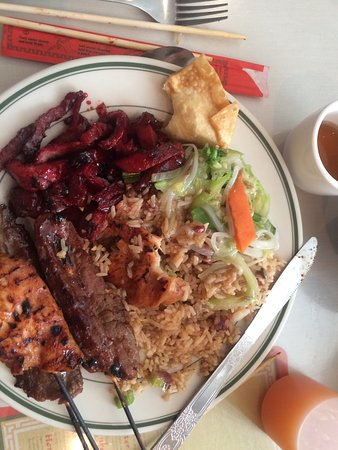 Winchendon, MA: Dinner combo with teriyaki beef, teriyaki chicken, boneless BBQ pork over fried rice. A bit of v