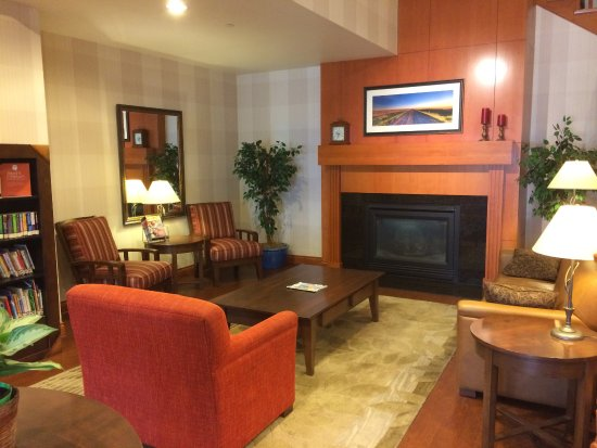 Country Inn & Suites by Radisson, Calgary-Airport, AB: Relax in the common area by the fireplace with a good book.