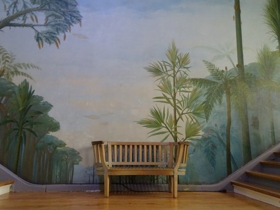 Musee d'Histoire Naturelle de Lille: Bench with picturous background in the museum of natural sciences in Lille.
