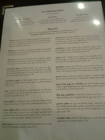 Oak Lawn, IL: Flap jack menu