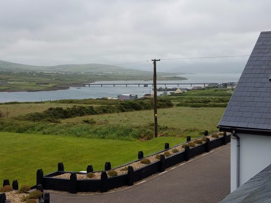 Portmagee Heights: The dock and bridge in the morning.