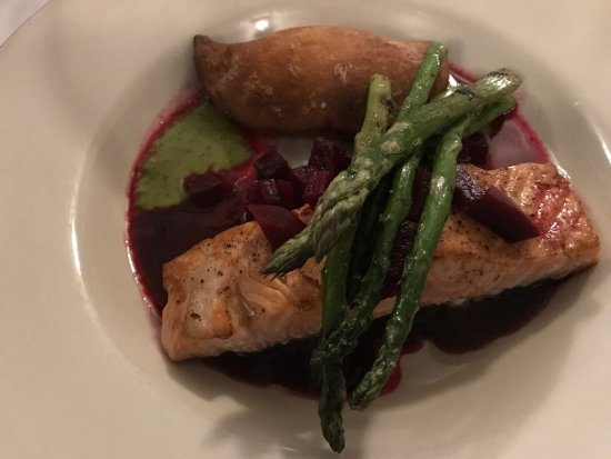Pan seared Faroe Island Salmon with Grilled Asparagus and Goat Cheese Empanada