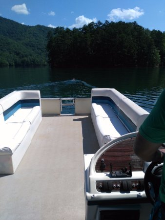 Almond, NC: A view of the boat, lake and a deer we helped to usher to the edge of the bank.