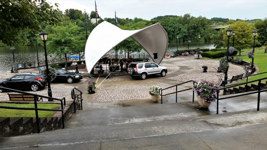 Amsterdam, NY: Setting up for the concert at the amphitheater.
