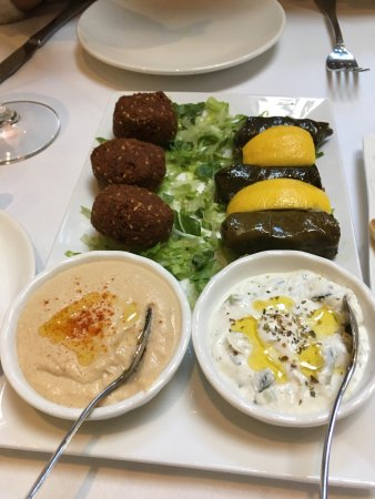San Carlos, CA: Greek salad and  mezzie platter