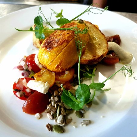 Kennford, UK: Roasted courgette, vulscombe goats cheese and chunky tomato salsa