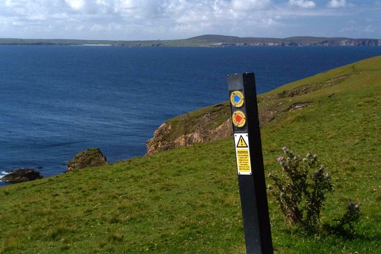 Belmullet, Ireland: Looking over Erris Head before the steep slope