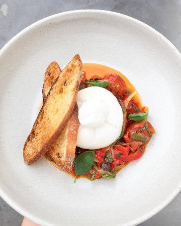Woy Woy, Australia: Burrata with peppers, olives, capers, tomato and basil