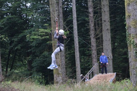 Foxdale, UK: zip wire on the adults course