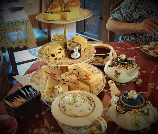 Staunton, VA: Victorian Tea Serviced on a Lace-covered Table