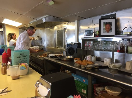 Bristol, Rhode Island: the cook works in the main room -- fun to watch