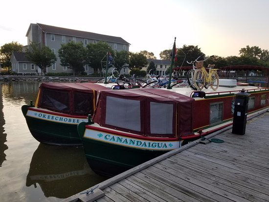 Mid-Lakes Navigation: Our two boats tied up in Pittsford for the evening. It's a 2 minute walk to the restaurants!