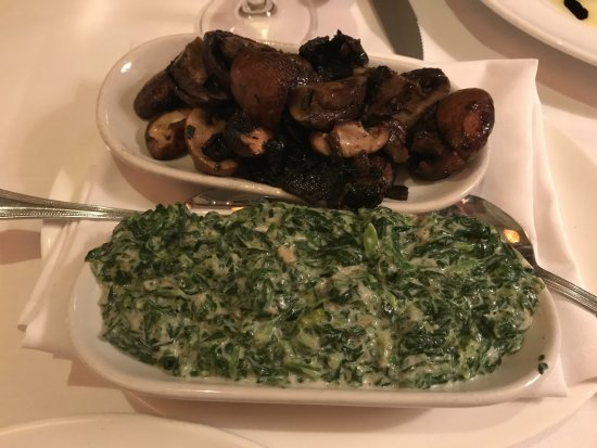 Garden City, NY: Extra creamy spinach blended with béchamel sauce and a side of roasted wild mushrooms.