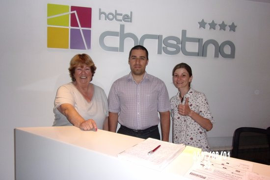 Hotel Christina: Me with a couple of Reception Staff