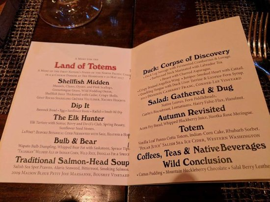 The Herbfarm Restaurant: The menu