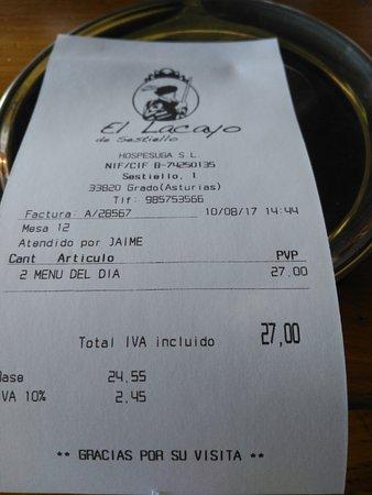 Grado, Ισπανία: La cuenta.... menu diario de 13,50 €