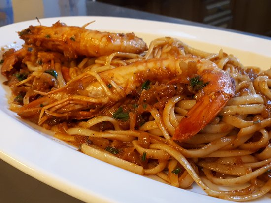 Agios Georgios, Greece: Shrimp with spaghetti...